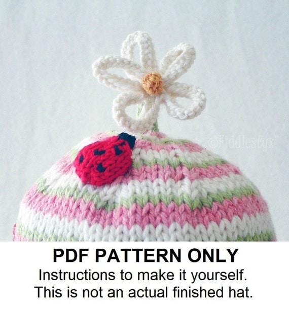 Knitting Pattern - Ladybug Hat Knitting Pattern - the CLAUDIA beanie (Newborn...