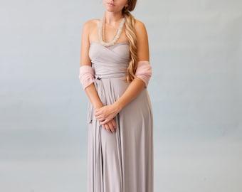 Nantucket Fog Satin Jersey- Octopus Convertible Infinity Wrap Dress-Long Gown, Bridesmaids, Wedding, Prom, Maternity