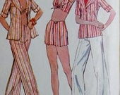 Vintage Mccalls 4052 70s Sewing Pattern -- 1970s Halter Top Shirt Jacket and Pants -- Bust 34 Small