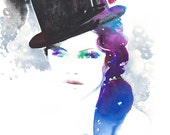 Original Painting, Watercolour Fashion Illustration. Top Hat