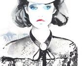 Archival Prints of Original Painting, Watercolour Fashion Illustration. German Vogue, Das ist, Cowboy Girl