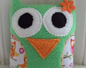 Green, Orange and Pink Owl and Owl Bib - Bib and Tooth Pillow Owl Gift Set - Tooth Fairy Pillow - Bib for Baby