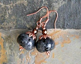 Gray Stone Earrings, Black Labradorite Earrings, Copper Earrings, Natural Stone Earrings, Handmade Earrings, Bohemian Earrings, Grey