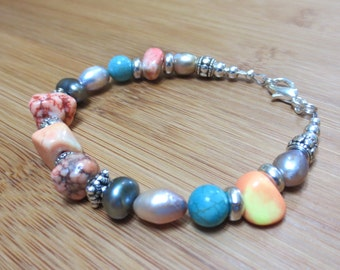 Funky Boho Bracelet, Colorful Mixed Gemstone Bracelet, Small Peach and Blue Bracelet, Turquoise, Yellow Jasper, Engraved Silver Beads