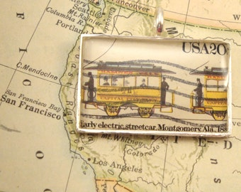 Vintage US Postage Stamp Pendant Necklace Key Ring - Early Electric Streetcar