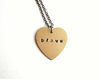 brave heart necklace  - hand stamped jewelry