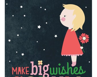11 X 14 Personalized children's illustration, little girl or boy gazing at the stars, make big wishes