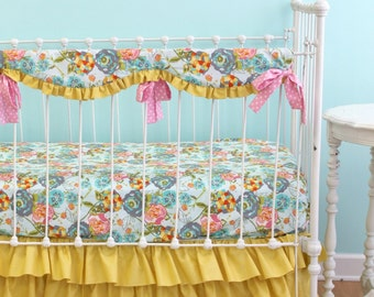 Bumperless Baby Bedding, Custom Baby Girl Bedding with Pink and Yellow Ruffle Crib Bedding Accents -  Lily Belle