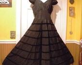 1940s Taffeta & Velvet Long Full Skirt Evening Gown - Costume or Remake Piece