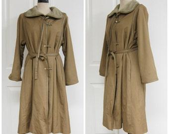 70s Beige Trench Coat Leather Trim Medium Large Jacket Tan Camel Belted Long