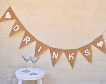 DRINKS Banner Hessian Burlap Celebration Engagement Wedding Party Banner Bunting Decoration Birthday