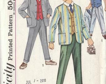 Vintage Sewing Pattern 1960s Boys Jacket Vest Pants Size 5 Retro Suit Suspenders