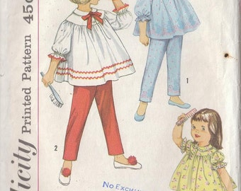 Vintage Sewing Pattern 1960s Girls' Two Piece Pajamas Shorties Gathered Top and Pants Size 4