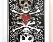 Lonely Heart with Skulls / altered playing card decks