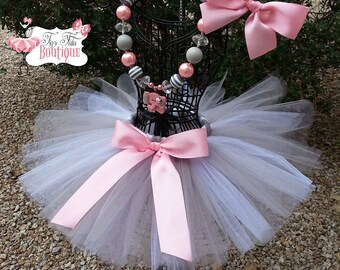 BABY MINE- Pink, White, and Gray baby/child tutu with  hairbow:  NEWBORN-5T
