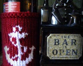 Dark Red Anchor Nautical Theme Handmade Knit Beer Bottle or Can Coozie