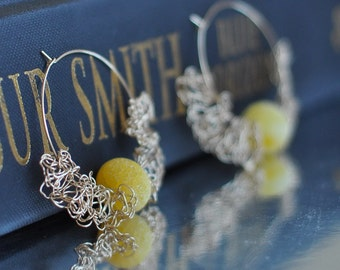 Earrings - 14kt gold filled large hoops with wire crochet handwoven lace and golden yellow fire agates - OOAK unique romantic lacy - Sunrise