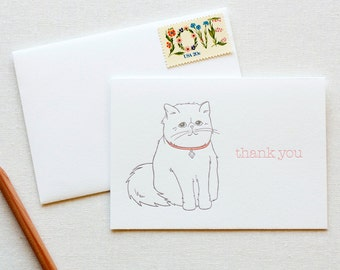 Persian Kitty Thank You Letterpress Card