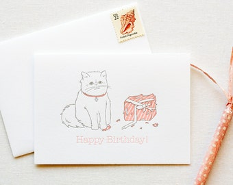Persian Kitty Birthday Letterpress Card
