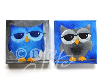 Sleepy Owl Art, Blue & Gray OWLS - Set of 2 6x6x1.5 Acrylic Owl Paintings