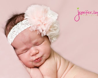 baby headband, ivory flower headband, light pink headband, hair accessories