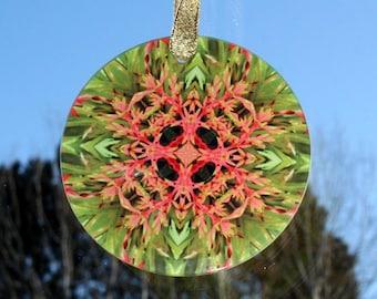 Bromeliad Glass Suncatcher Boho Chic Mandala New Age Sacred Geometry Hippie Kaleidoscope Mod Gypsy Unique gift For Her Citrus Starburst