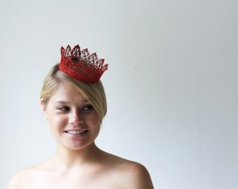 Ruby Red Princess Fairy Tale Lace Crown -  Valentine's day, queen, halloween costume