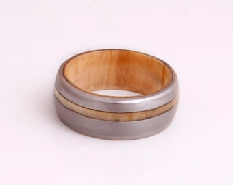 Titanium Ring man ring Mens Wedding Band with inner wood ring and Titanium ring olive