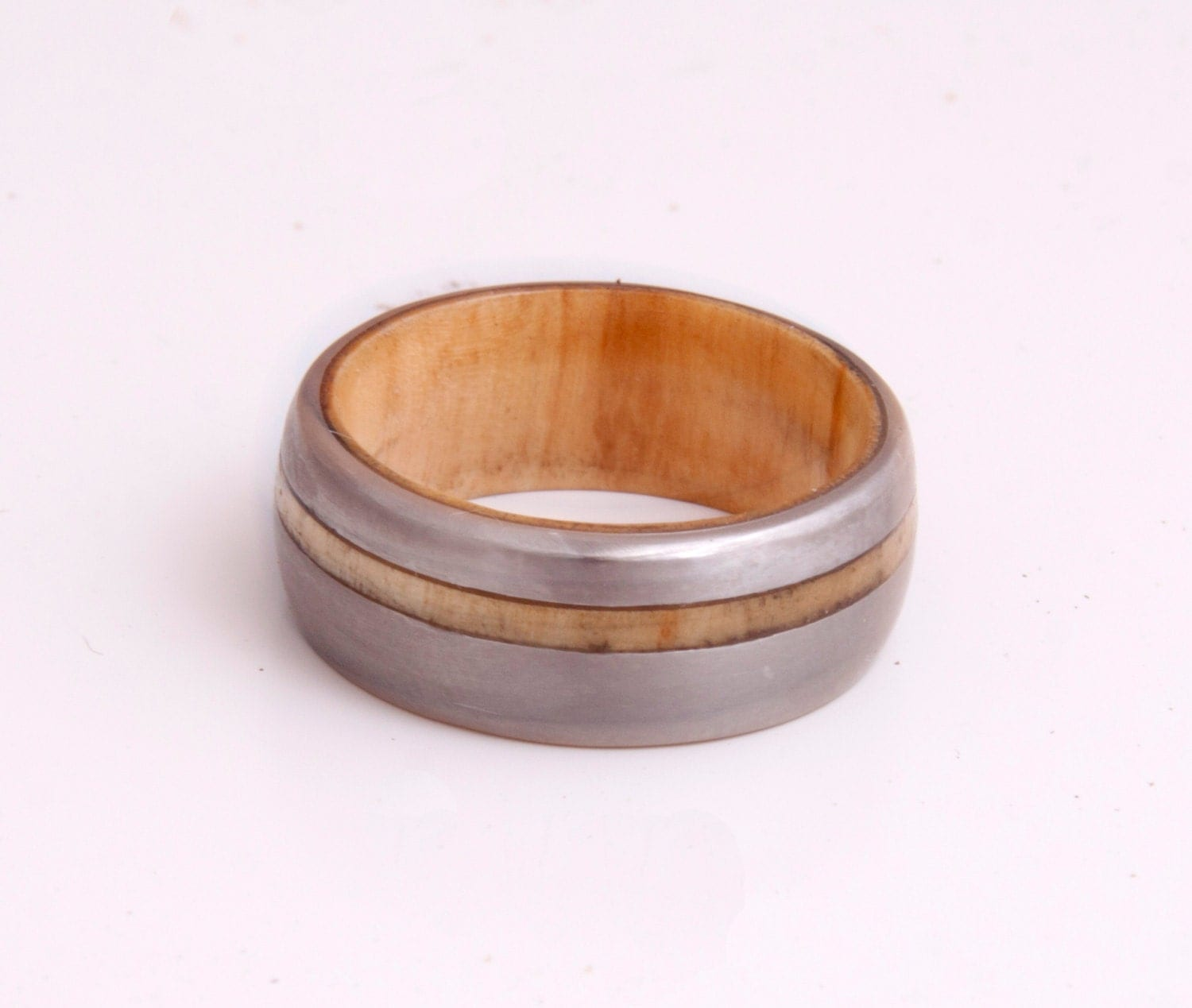 titanium ring ring mens wedding band with inner wood ring