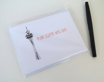 Set of 10 From Seattle with Love Seattle Space Needle Note Cards - Seattle, thank you cards
