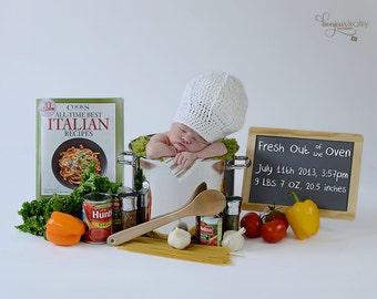 Baby Chef Hat/ Crochet Chef Hat/ Newborn Photo Prop Chef Hat