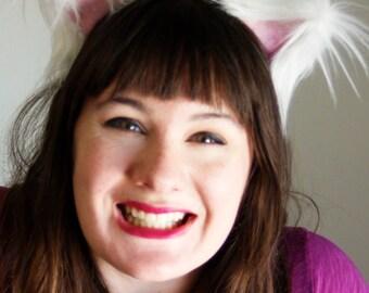 Adjustable Fluffy White Kitty EARS: Kids & Adults - Cosplay - Kawaii - Burning Man - Halloween- Burlesque - Rave