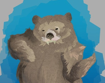 Gray and Blue Dancing Bear illustration 5 inch by 7 inch playful print