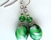 Green lampwork glass earrings. St. Patrick's Day jewelry. Green Earrings. Green glass earrings. Spring earrings. Easter. Fashion jewelry