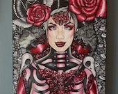 "Original Oil Painting Gothic Lowbrow Tattoo Art Home Decor Canvas "" Lady Death"" 12 by 24 inches skull red roses eyes pin up girl woman dark"