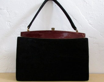 black suede vintage 60s collectors gold snap purse hand bag - one size