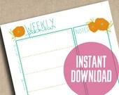 Orange Floral Weekly Planner Printable Instant Download