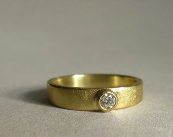 18k Gold Diamond Ring - Diamond Wedding Band - 18K Diamond Ring - Made To Order In Your Size - Diamond Engagement Ring - Diamond Solitaire