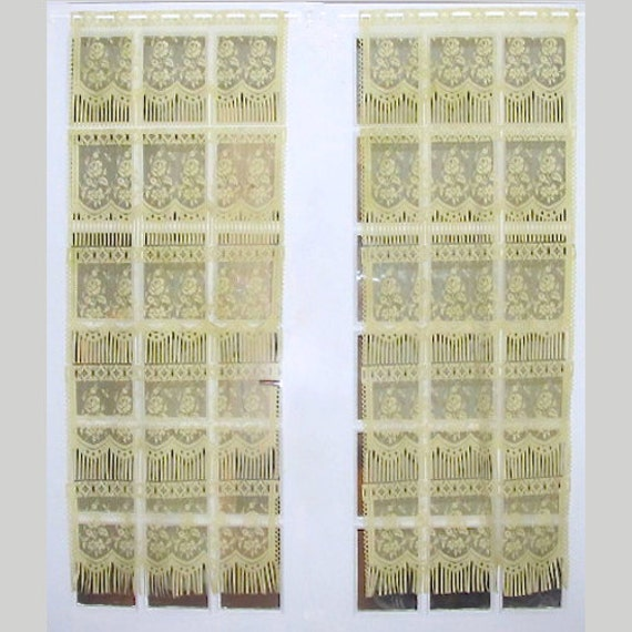 Yellow Lace Curtains Pair Lace French Door Curtains Yellow