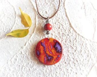 Necklace - Wooden Pendant - handpainted Halloween necklace  - Boho