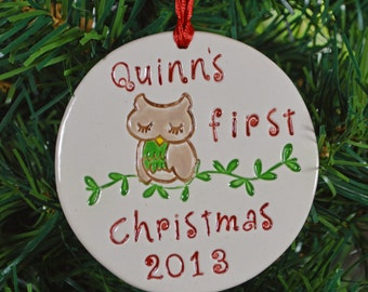 Baby's first christmas ornament - personalized owl baby's 1st Christmas ornament - custom made to order - christmas tree ornament