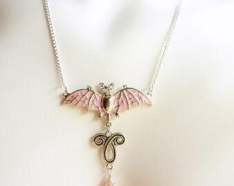 Pink Bat Jewelry, Bat Necklace, Batty Glam, Rhinestones Crystals, Bat Pendant in Pink Enamel