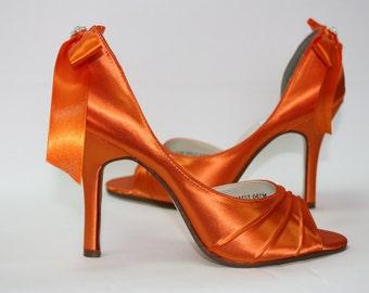Wedding Shoes Orange Shoes Bows On Heels Orange Wedding