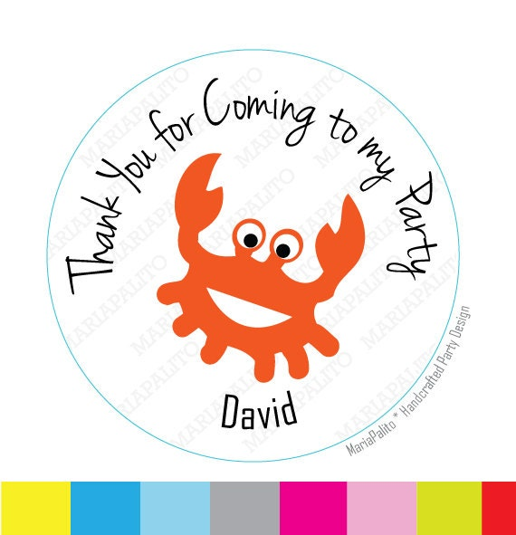 crab thank you for coming to my party personalized sticker label