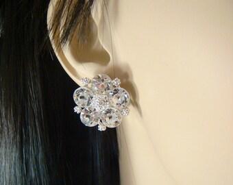 Classic Rhinestone bridal CLIP ON Earrings / bridal rhinestone studs / wedding studs