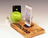 Docking station for any iPhone including 6 and 6 plus.. INCLUDES wall charger. Rustic wood.  Crate wood. 587. FAST SHIPPING.