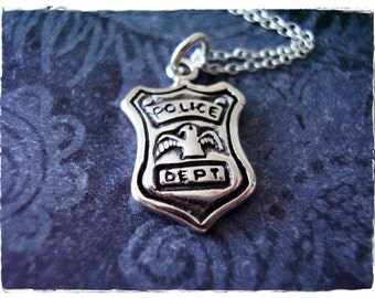 Silver Police Badge Necklace - Sterling Silver Police Badge Charm on a Delicate Sterling Silver Cable Chain or Charm Only
