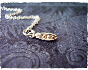 Tiny Peas in a Pod Necklace - Sterling Silver Peas in a Pod Charm on a Delicate Sterling Silver Cable Chain or Charm Only