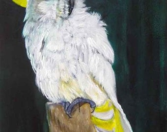 Yellow Crested Cackatoo, Acrylic Original Painting *****SALE*****