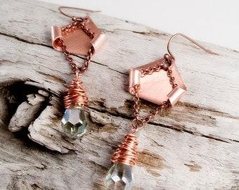 Rustic copper crystal earrings